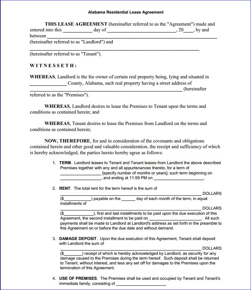 Free Printable Alabama Residential Lease Agreement Printable