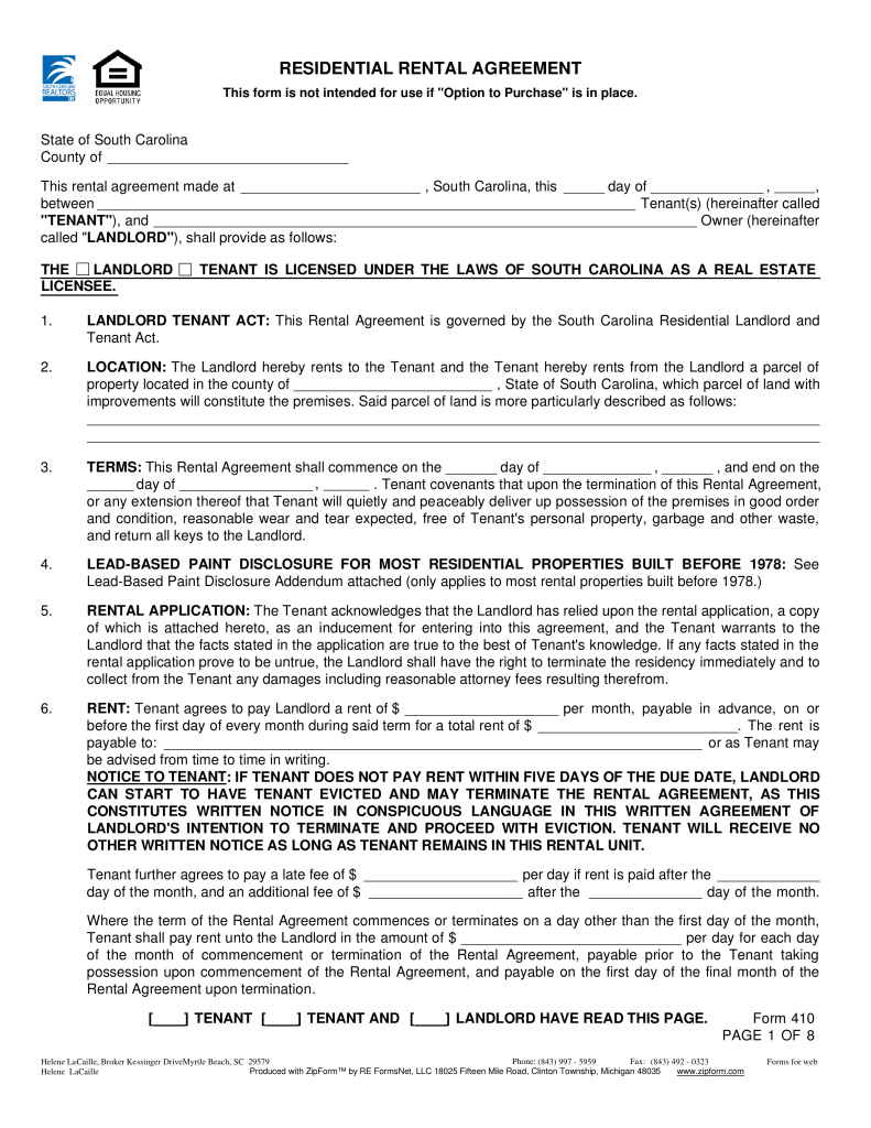 Free South Carolina Association of Realtors Lease Agreement | Form