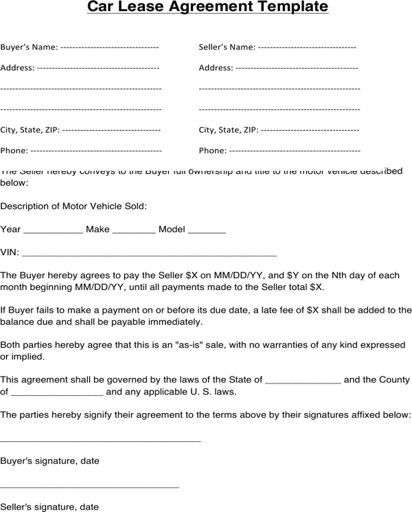 auto lease agreement template automobile lease agreement template