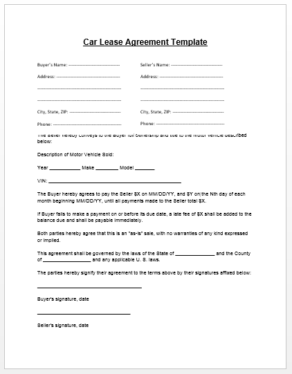 auto lease agreement template car lease agreement template