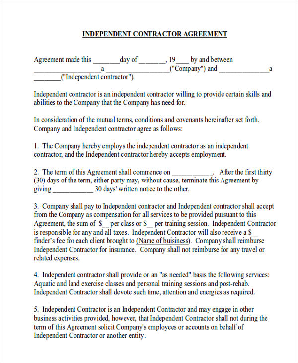 Free Printable independent contractor agreement Form | Printable