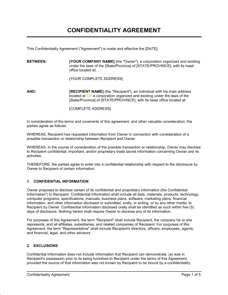 Confidentiality Agreement Template & Sample Form | Business in a Box