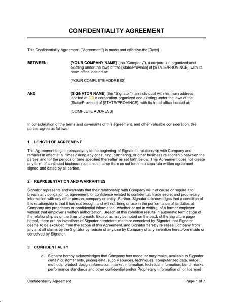 business non disclosure agreement template consultant non