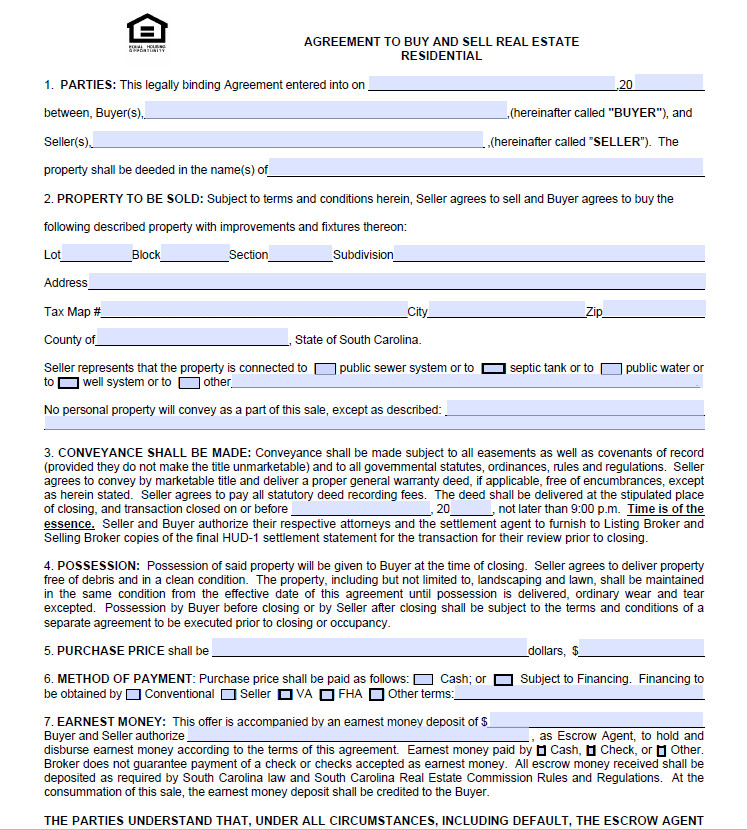 Charleston Real Estate | Agreement To Purchase Form