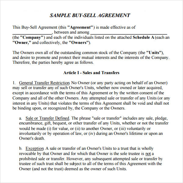 Buyout Agreement Template Business Template