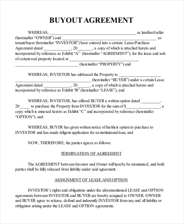 home buyout agreement template buyout agreement template sample