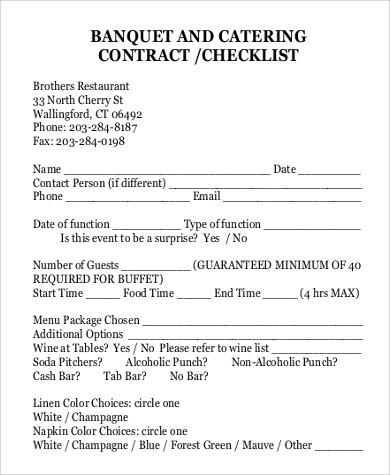 11+ Catering Contract Templates – Free Word, PDF, Documents