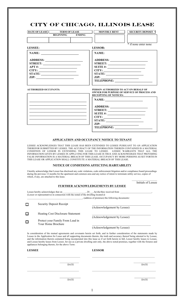 Free Illinois (Chicago Only) Residential Lease Agreement Template