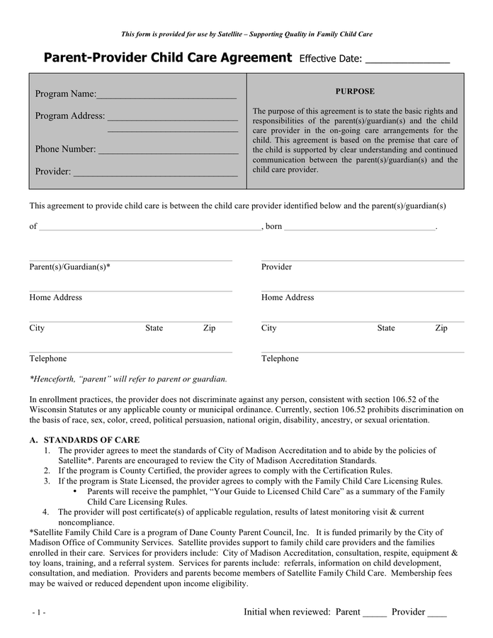 Parent provider child care agreement sample in Word and Pdf formats