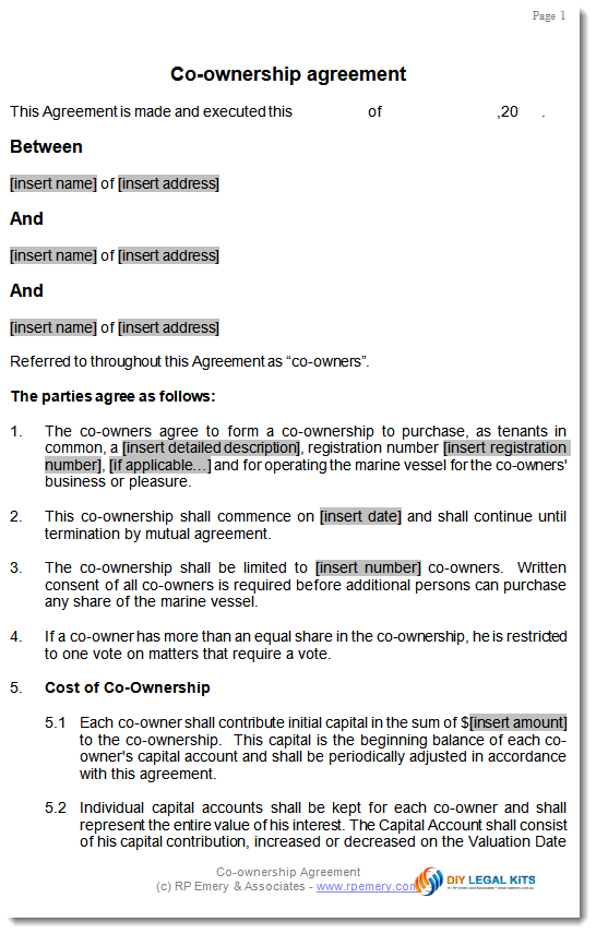 land co ownership agreement template business ownership agreement