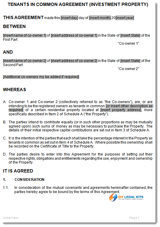 ownership agreement contract template tenants in common agreement