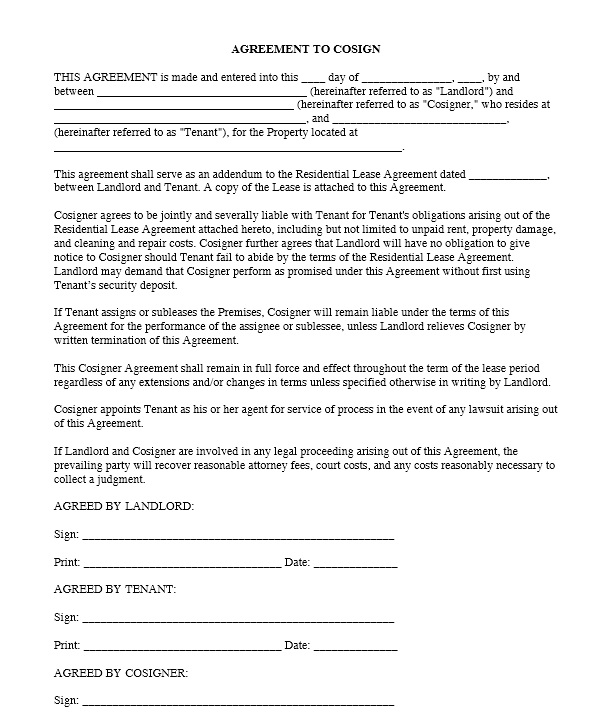 cosigner lease agreement co signer for apartment lease cosigner