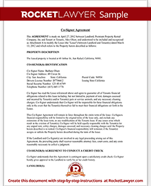 Co Signer Agreement Rental Lease Cosigner (with Sample)