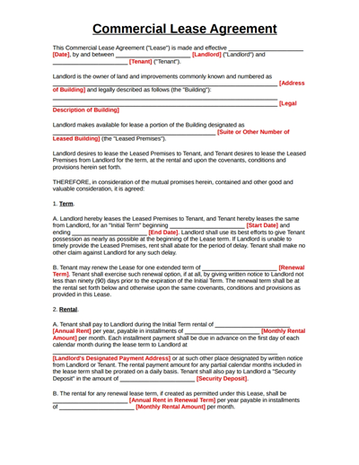 Commercial Lease Agreement Template: Free Download, Create, Fill