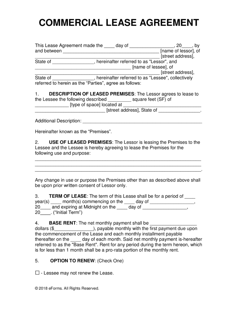 Free Commercial Rental Lease Agreement Templates PDF   Word