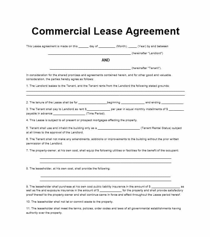 commercial lease agreement template word free california