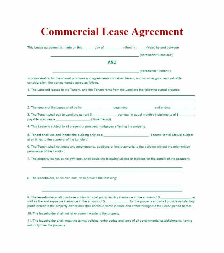 Free Commercial Rental Lease Agreement Templates PDF | Word