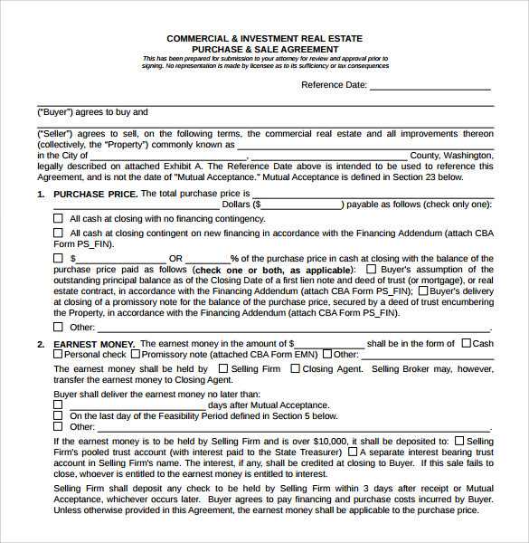 commercial real estate purchase agreement template real estate