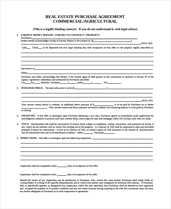 Bill Of Sale Form Kentucky Offer To Purchase Commercial Real
