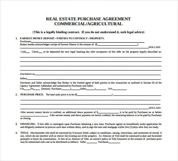 commercial real estate purchase and sale agreement template