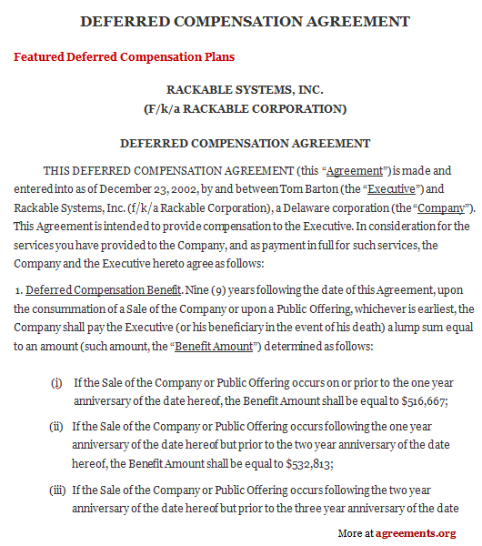 deferred compensation agreement template compensation agreement