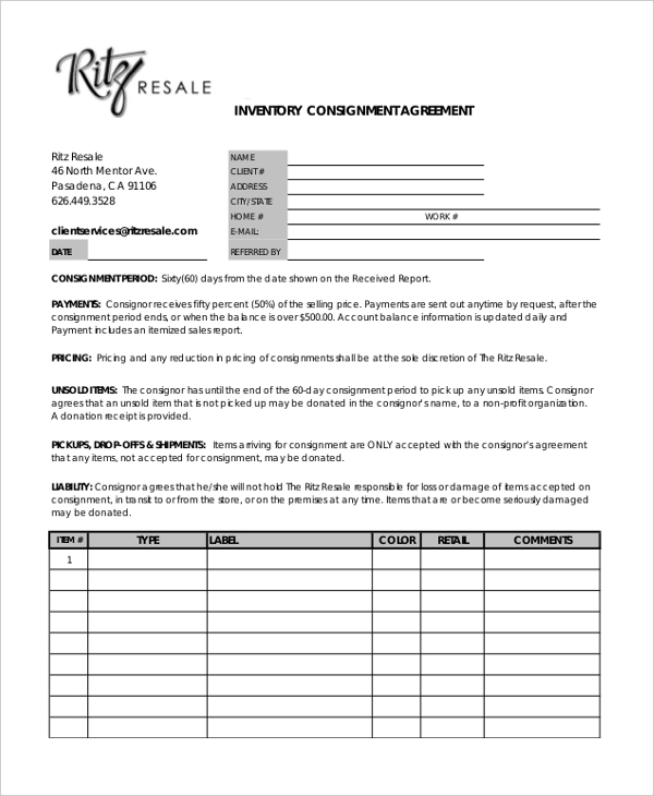 Sample Consignment Agreement Form 8+ Free Documents in PDF