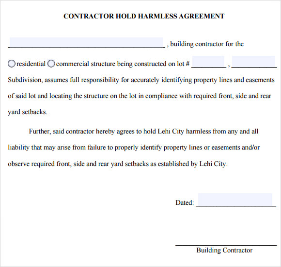 12+ Hold Harmless Agreements Free Sample, Example, Format | Free