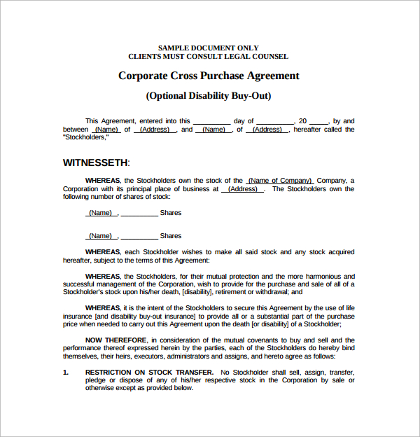 6+ Cross Purchase Agreement Templates | Sample Templates