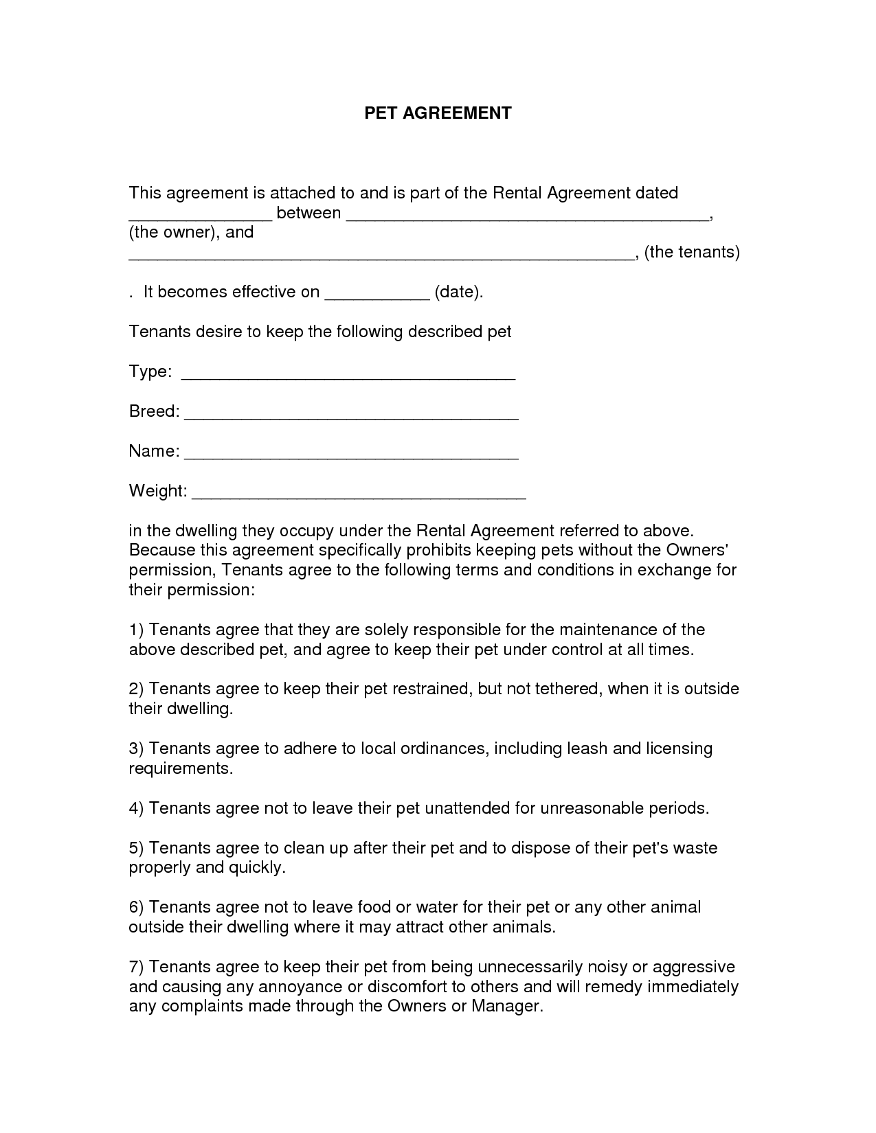 free easy lease agreement to print | Free Printable Lease