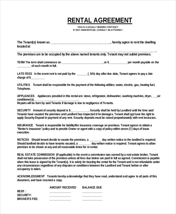 5+ easy rental agreement | Survey Template Words