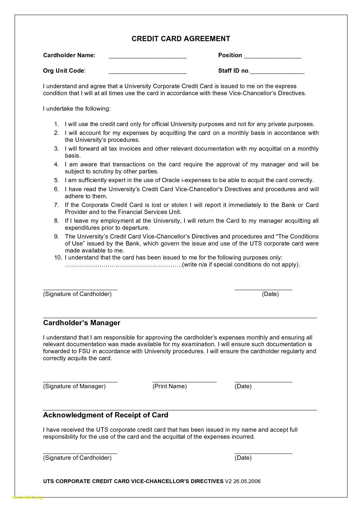 acquittal report template Lovely Employee Credit Card Agreement