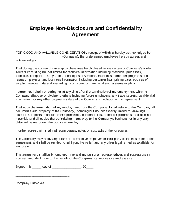 employee non disclosure agreement pdf