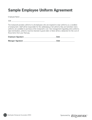 Fillable Online Sample Employee Uniform Agreement Fax Email Print