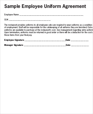 uniform agreement template sample employee uniform form 9 examples