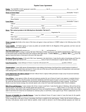 Horse Lease Agreement Fill Online, Printable, Fillable, Blank