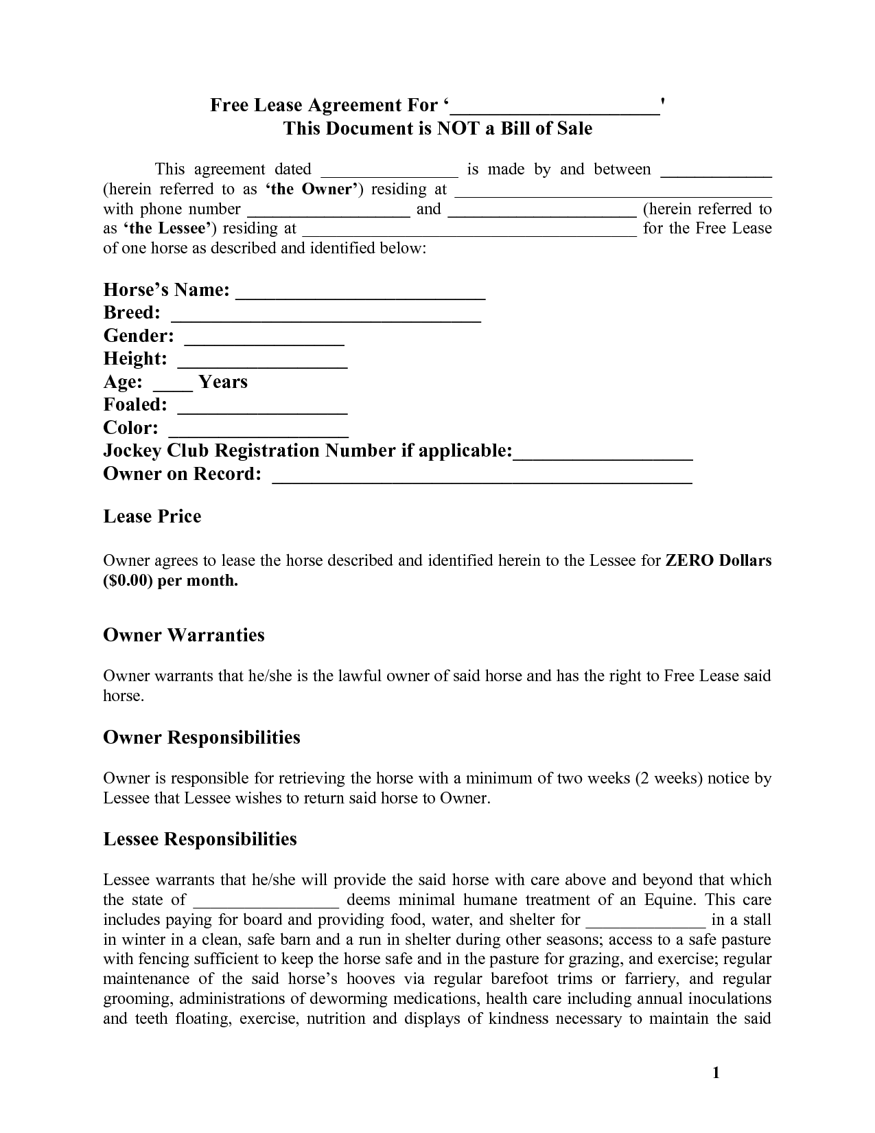 Equine Lease Agreement Fill Online, Printable, Fillable, Blank