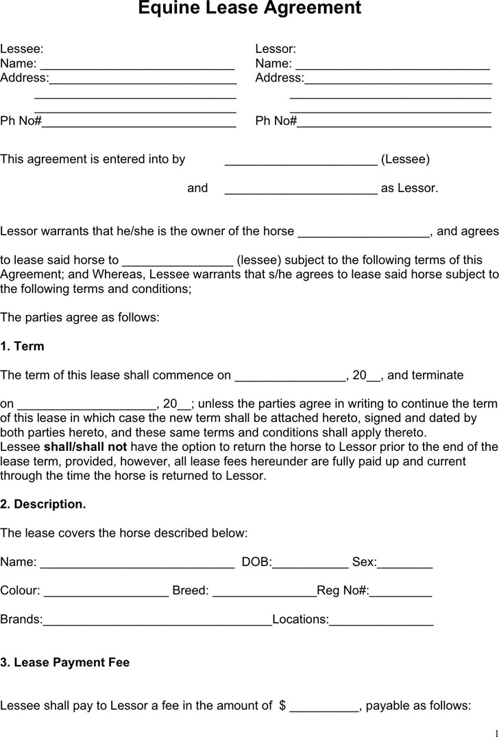 Horse Lease Agreements Templates