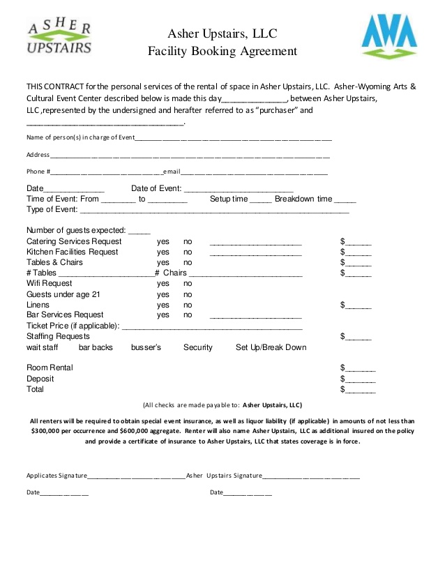 church rental agreement template facility rental agreement