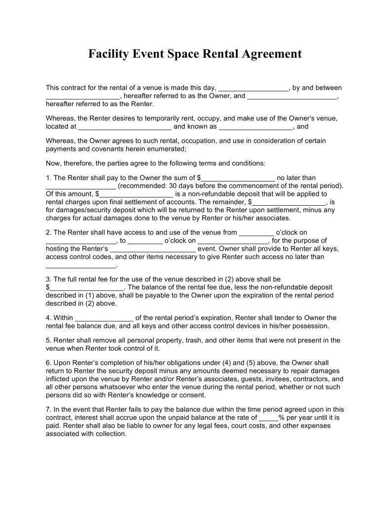 Free Event Facility Space Rental Agreement Template PDF | Word