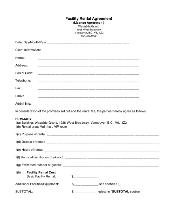facility hire agreement template facilities rental agreement