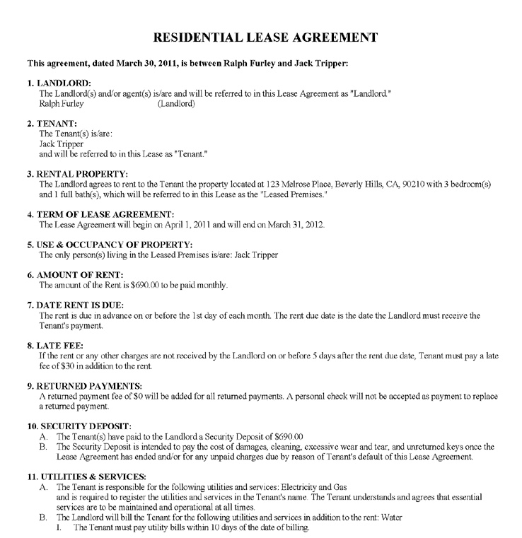 Fake Lease Agreement Last Lease Agreement From Ezlandlordforms
