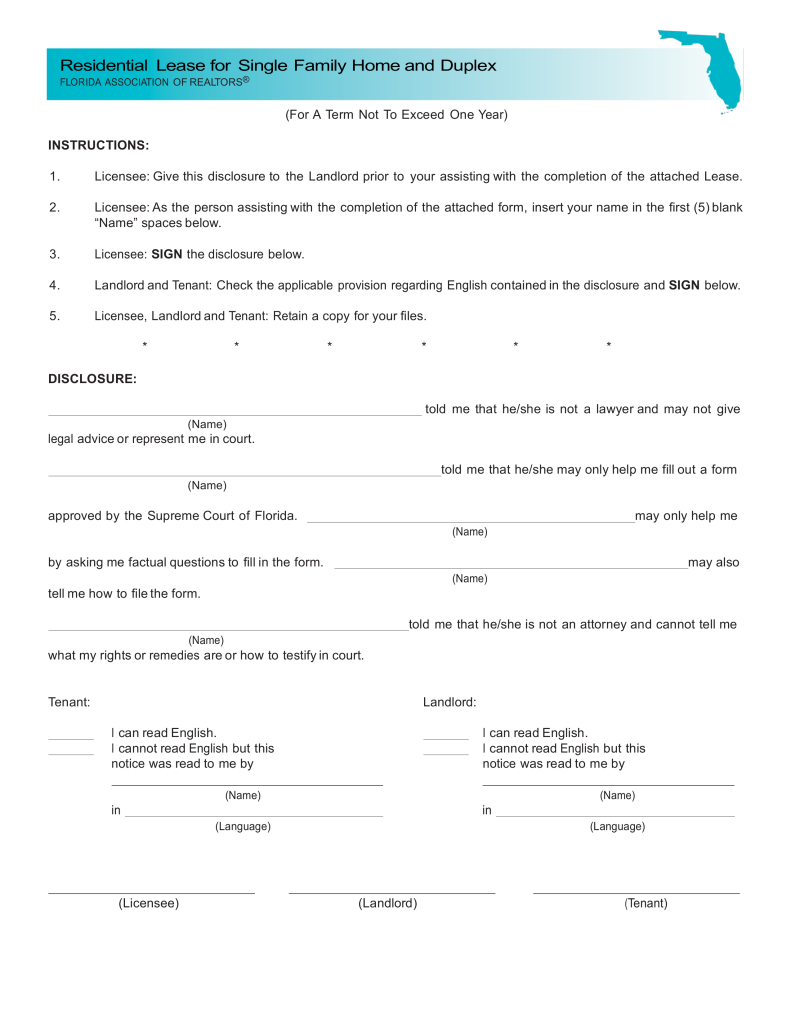 Free Florida Association of Realtors Residential Lease Agreement