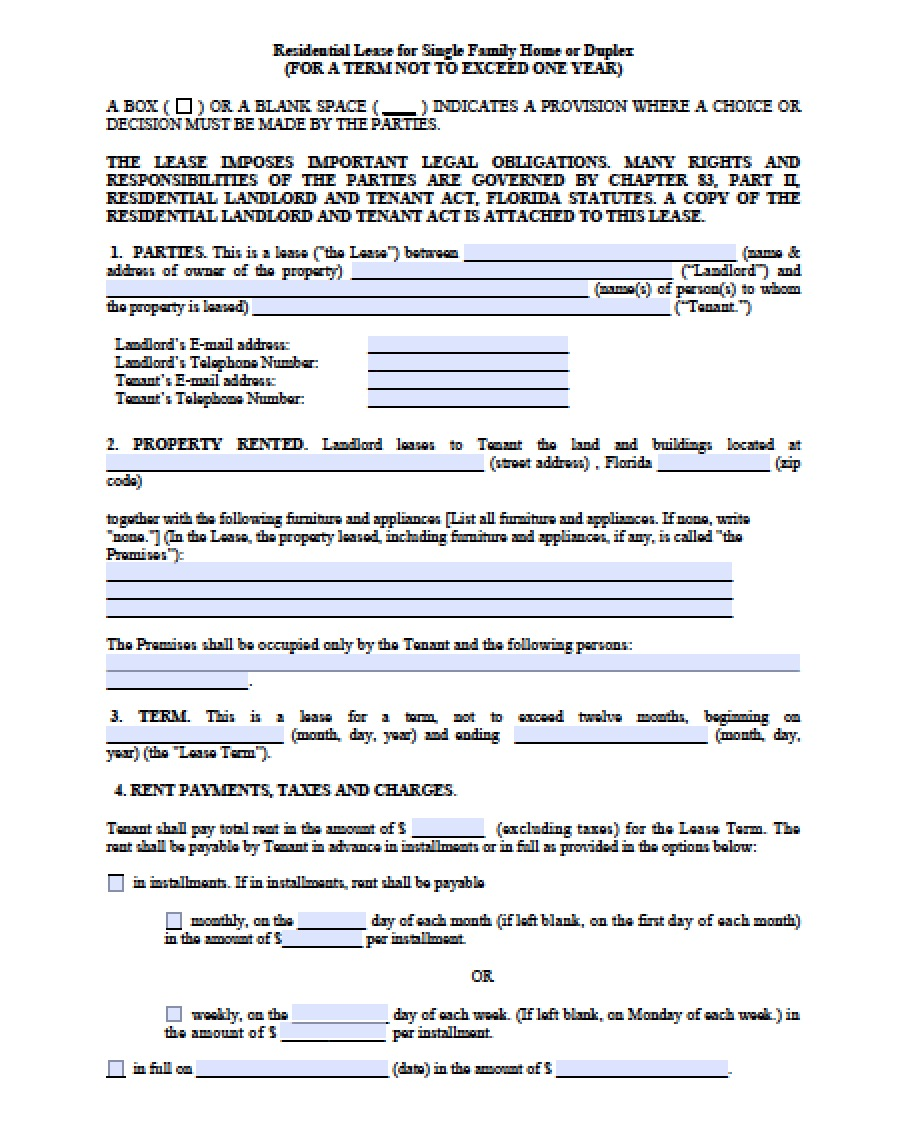 Free Florida Month to Month Lease Agreement | PDF | Word (.doc)