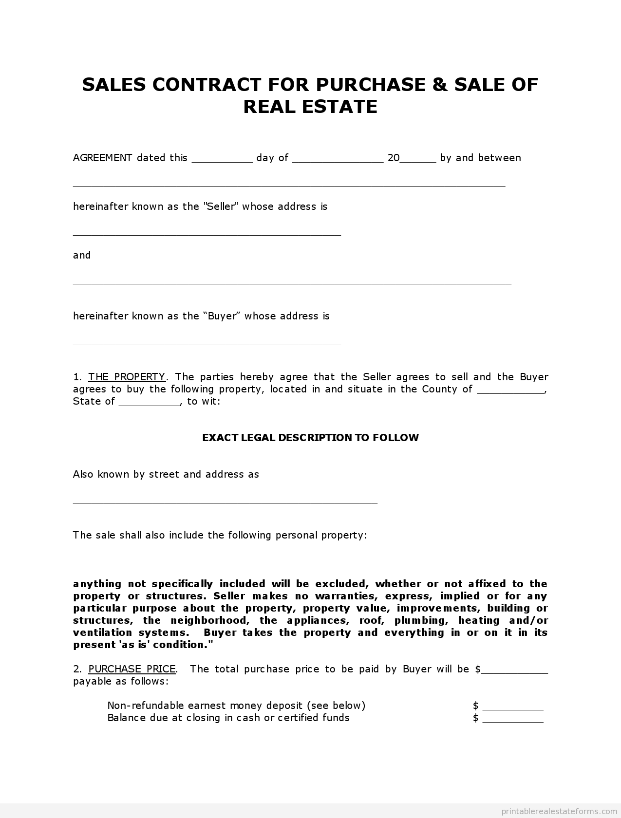 Get High Quality Printable Simple land contract form. Editable