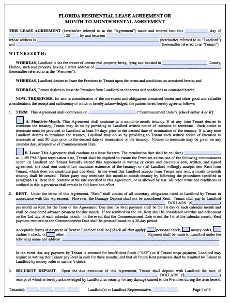 free residential lease agreement template florida rental agreement