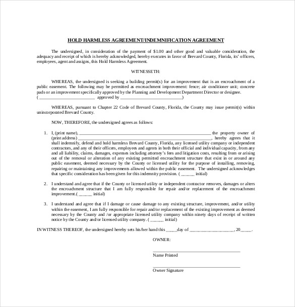 free hold harmless agreement Akba.katadhin.co