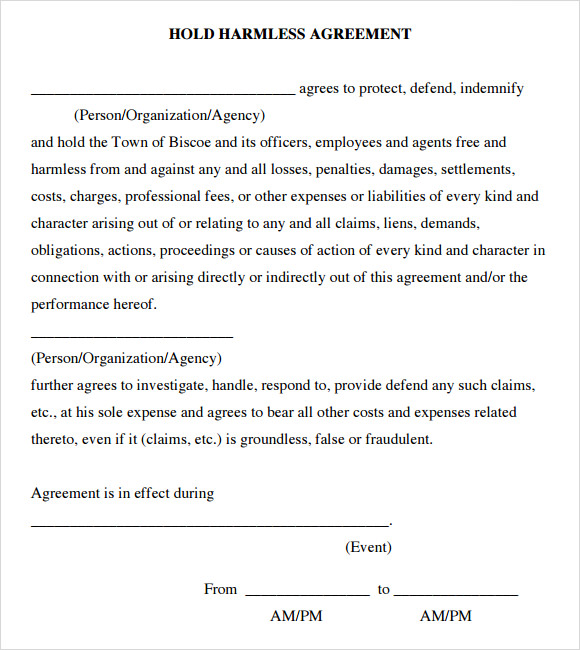 Free Hold Harmless Agreement Template Swineflutrackingmap.com