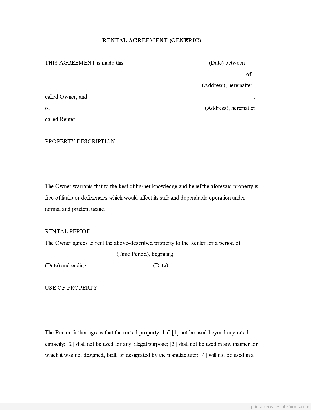 New Free Printable Residential Lease Agreement | Downloadtarget