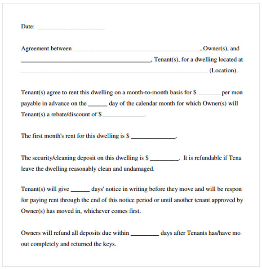 simple lease agreement template word rental agreement template