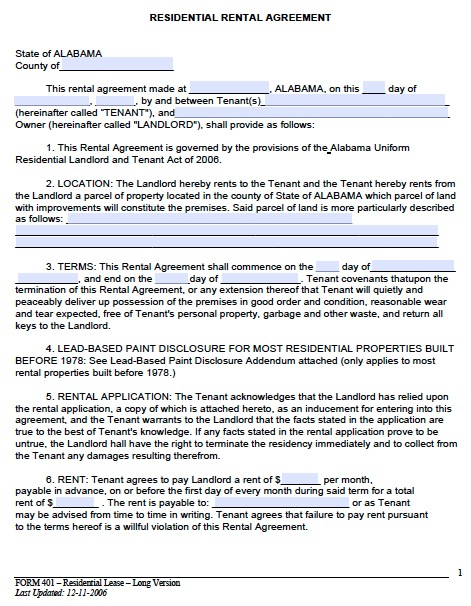 free rental lease agreement template free alabama month to month